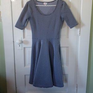 Lularoe textured navy polka dot Nicole dress